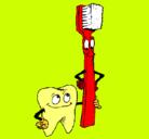 Dibujo Muela y cepillo de dientes pintado por cami
