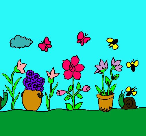 Dibujo de jard n pintado por primavera en el for Jardin dibujo