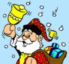 Dibujo Santa Claus y su campana pintado por Martita