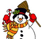 Dibujo Muñeco de nieve con bufanda pintado por Martita