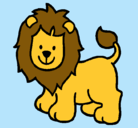 Dibujo León pintado por Alicia