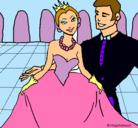 Dibujo Princesa y príncipe en el baile pintado por priscila