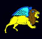 Dibujo León alado pintado por perdonenlodemexicoendrago