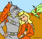 Dibujo San Jorge y princesa pintado por SARA