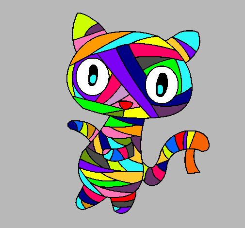 Dibujo de gato garabato momia pintado por colorido en - Dibujos de gatos pintados ...