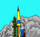 Dibujo Lanzamiento cohete pintado por xxx