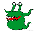 Dibujo Monstruo de dos ojos pintado por miguei