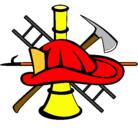Dibujo Material de bomberos pintado por escudo