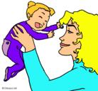 Dibujo Madre con su bebe pintado por tara
