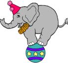 Dibujo Elefante encima de una pelota pintado por vania