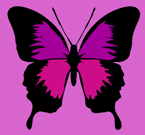 Dibujo de Mariposa con alas negras pintado por Fea en Dibujosnet