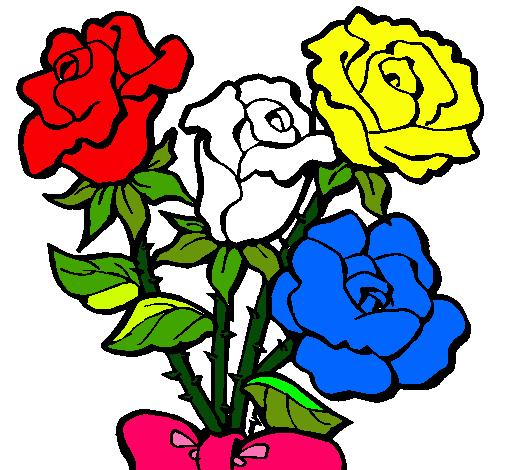 Dibujo de Ramo de rosas pintado por Flores en Dibujosnet el da