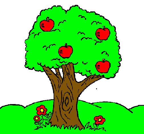 Dibujo de manzano pintado por arbol en el d a for Dia del arbol 01 de septiembre
