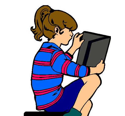 Dibujo de Niña leyendo pintado por Tarea en Dibujos.net el día 29 ...