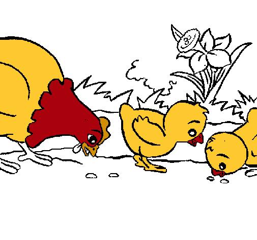 Dibujo de Gallina y pollitos pintado por Pollito en Dibujos.net el ...