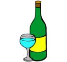 Dibujo Vino pintado por botella