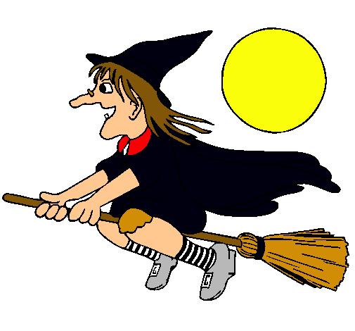 Dibujo de Bruja en escoba voladora pintado por Antonela en Dibujos