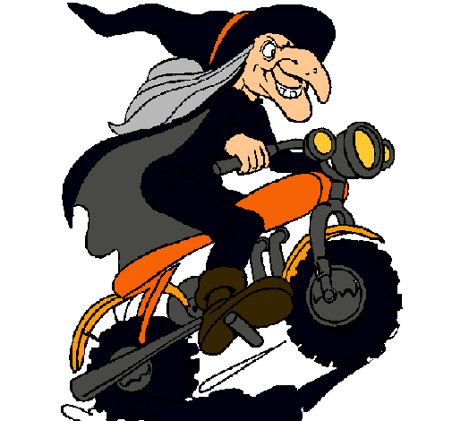Dibujo de Bruja en moto pintado por Lucy en Dibujosnet el da 21