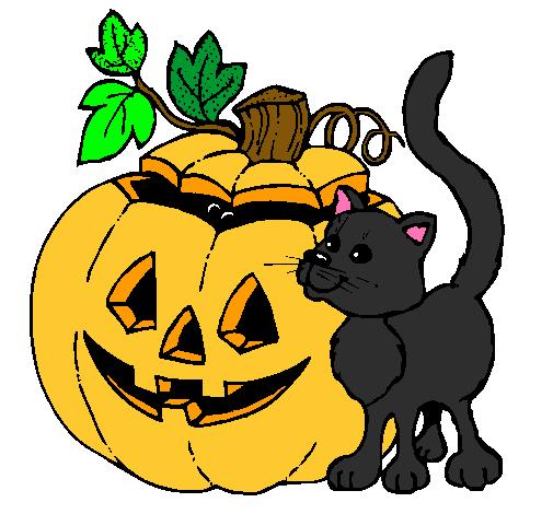 dibujo de calabaza y gato pintado por halloween en dibujos cupcake clipart images black and white cupcake clipart images to color