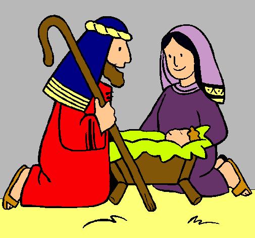 Dibujo de Adoran al nio Jess pintado por Maria en Dibujosnet el
