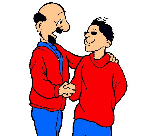 Padre e hijo se estrechan la mano