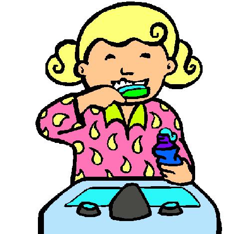 Dibujo de ni a cepill ndose los dientes pintado por aseo - Fotos de aseos ...