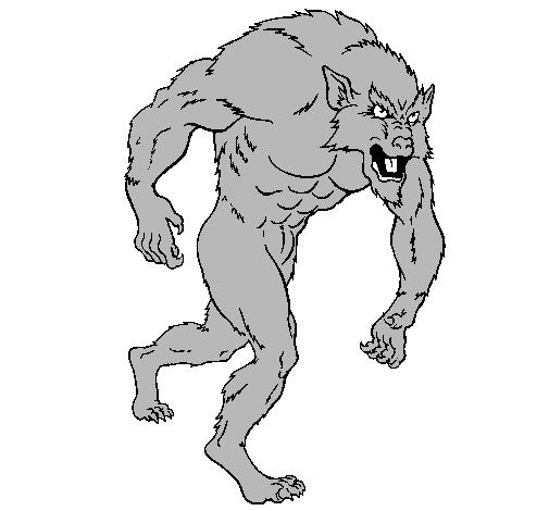 Dibujo de Hombre lobo pintado por Malo hombre lob en Dibujosnet