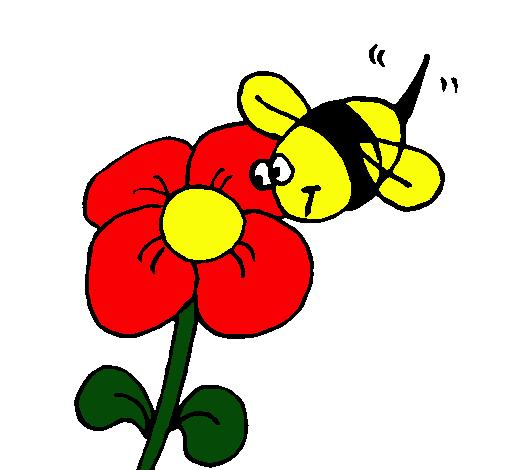 Dibujo de Abeja y flor pintado por Tata en Dibujosnet el da 25