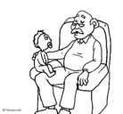 Dibujo Abuelo y nieto pintado por abuelo