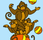 Dibujo Monos haciendo malabares pintado por vanesa