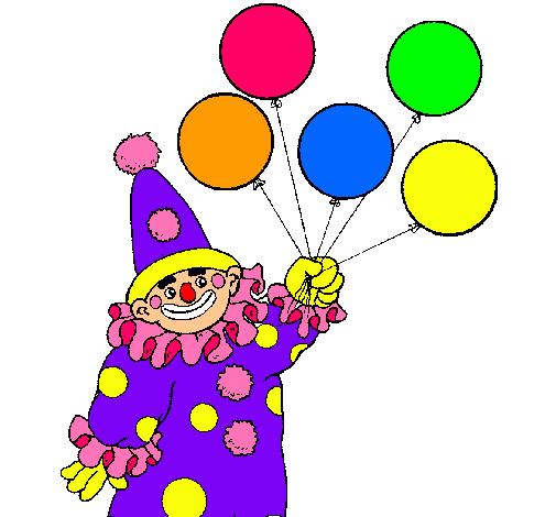 Dibujo de Payaso con globos pintado por Arelysdiaz en Dibujosnet