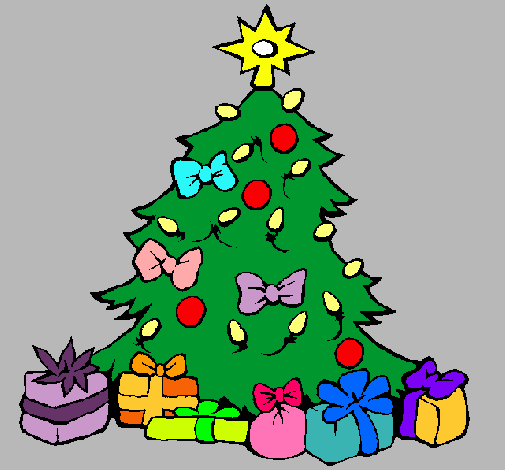 Dibujo de rbol de navidad pintado por erica en dibujos for Dibujos de navidad pintados