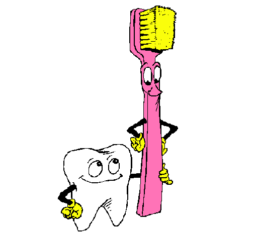 Dibujo de Muela y cepillo de dientes pintado por Allison en