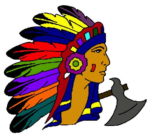 Dibujo de Indio con grandes plumas pintado por Cacique en Dibujos ...