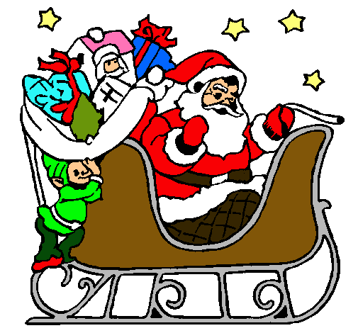 Dibujo de Papa Noel en su trineo pintado por Katherine en Dibujos ...
