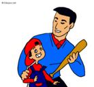 Dibujo Padre e hijo pintado por papa