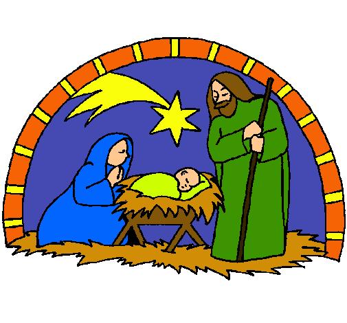 Dibujo de pesebre de navidad pintado por cangrejo en for Dibujos de navidad pintados