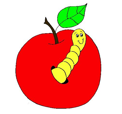 Dibujo de Manzana con gusano pintado por Maryann en Dibujosnet el