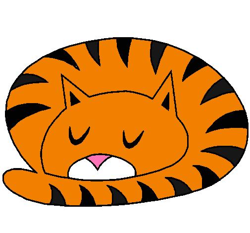 Dibujo de gato durmiendo pintado por elidibujo en dibujos - Dibujos de gatos pintados ...