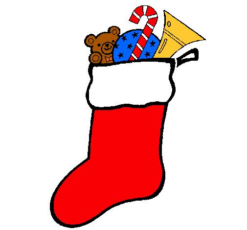 Dibujo de calcet n con regalos pintado por dora en dibujos - Calcetin de navidad ...