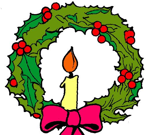 Dibujo de Corona de navidad y una vela pintado por Paulita en