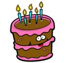 Dibujo Pastel de cumpleaños 2 pintado por pupi