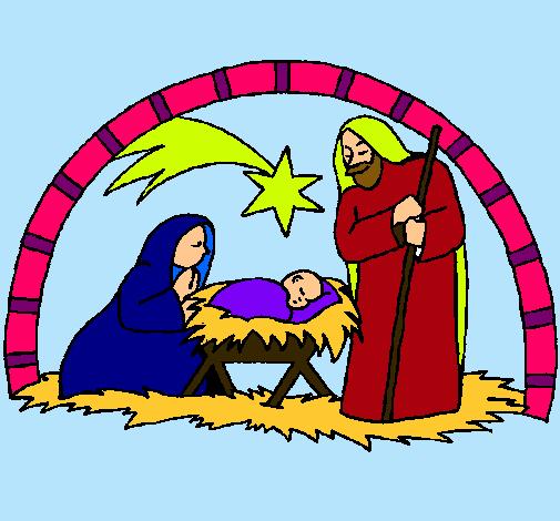 Dibujo de pesebre de navidad pintado por navidad en for Dibujos de navidad pintados