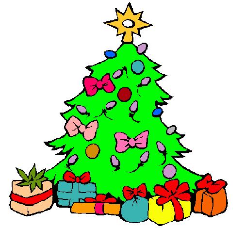 Dibujo de rbol de navidad pintado por Arbol en Dibujosnet el da
