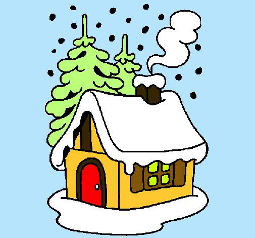 Dibujo de casa en la nieve pintado por navidad en dibujos - La casa de la navidad ...