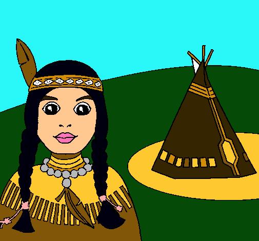Dibujo de India y tepee pintado por Indigena en Dibujosnet el da