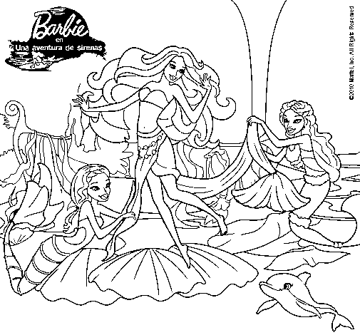 Imagenes de barbie sirena para pintar - Imagui