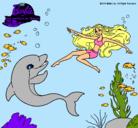 Dibujo Barbie jugando con un delfín pintado por mons