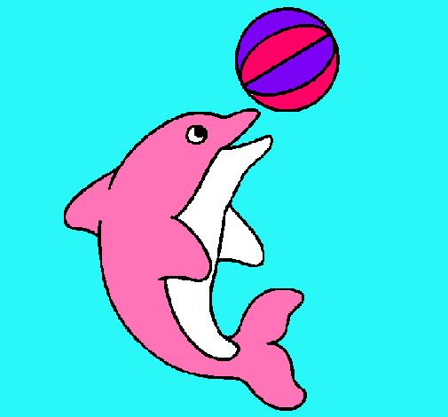 Dibujo de Delfín jugando con una pelota pintado por ...