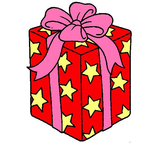 Dibujo de regalo envuelto en papel de estrellas pintado - Dibujos navidad en color ...